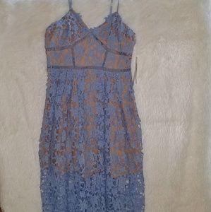 AQUA NWT Lace Overlay Cocktail Dress